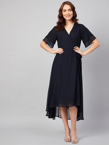 Navy Shimmer Wrap Midi Dress