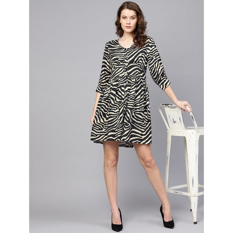 Beige Black Zebra Button Down Dress