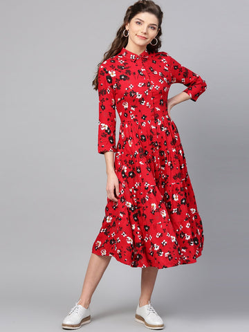 Red floral Print tier shirt dress