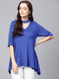 Royal Blue Choker Neck Top