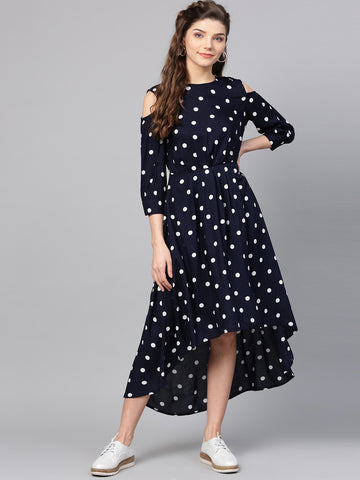 Navy Polka Assymetric Hem Dress