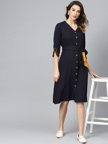 Navy Mustard Colorblock Midi Dress