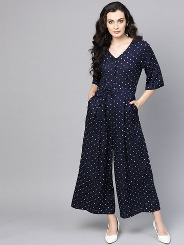 Navy Polka Dot Button Down Jumpsuit
