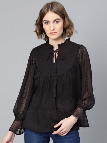 Black Dobby Tie-up Blouson Top