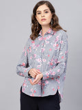 White Stripe Floral printed hi-low shirt