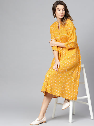 Mustard Polka Smocked Midi Dress