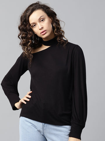 Black Choker Neck Detail Top
