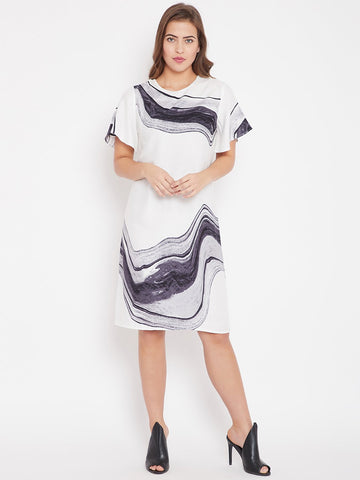White Marble Print Shift Dress