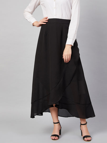 Black Wrap Ruffle Midi Skirt