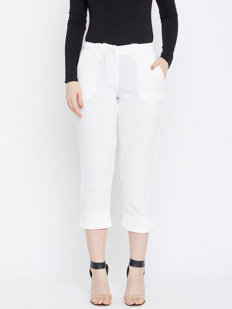 White Rolled Up Pants