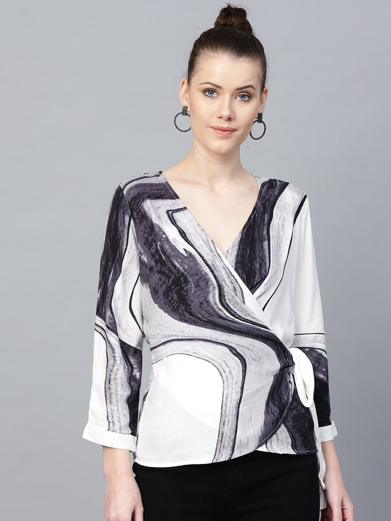 Marble Print Wrap Top