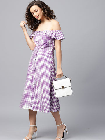 Lilac gingham off shoulder midi drees