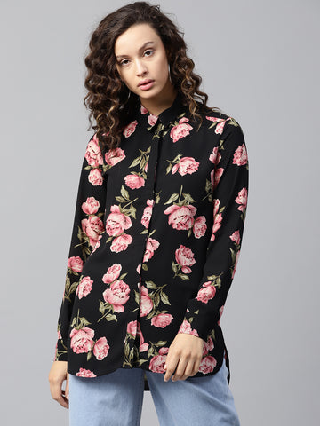 Black floral printed oversized shirt