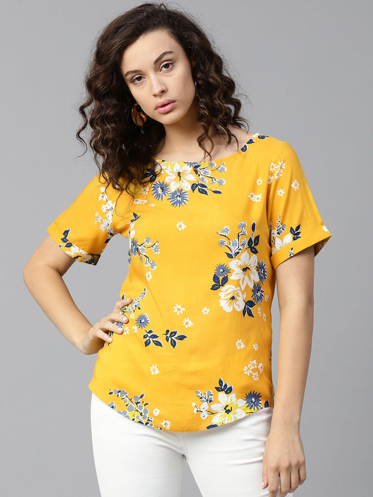 Yellow printed turned up sleeve top
