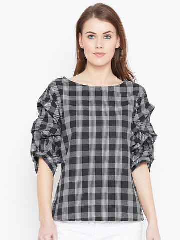 Black check print gathered sleeve top