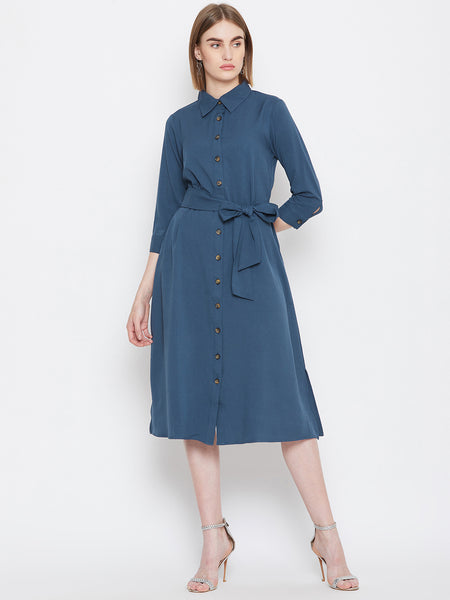 Blue Side Slits Midi Dress