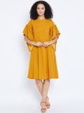 Mustrard Midi Dress with exaggerated sleeves