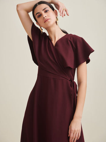 Wine Wrap Formal Maxi Dress