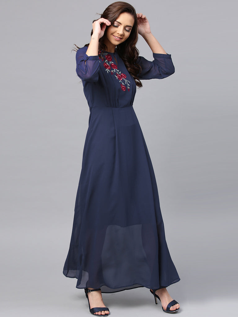 Navy Shoulder Embroidered Maxi