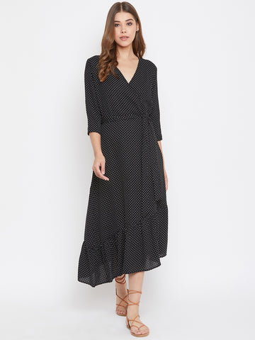 Black Ditsy Polka Wrap Midi Dress