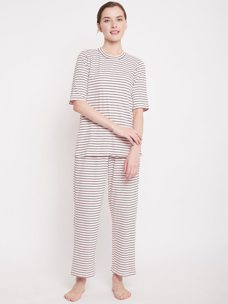 White Striped Cotton Lounge Wear  Set