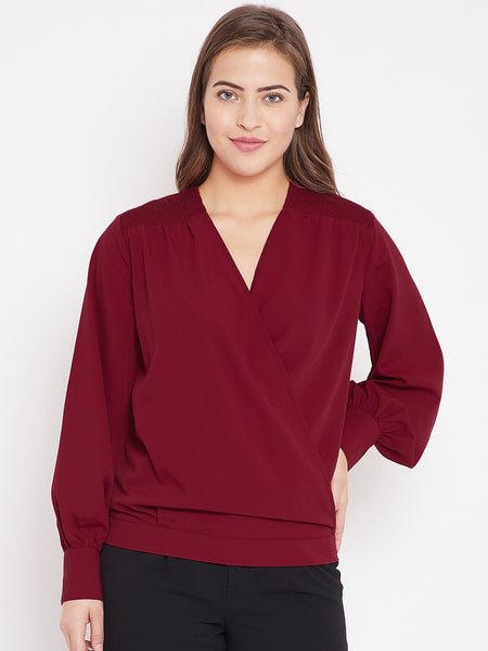 Red wrap top with smocking