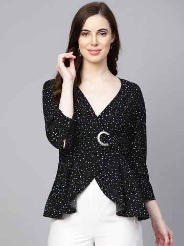 Black Polka Eyelet Wrap Top