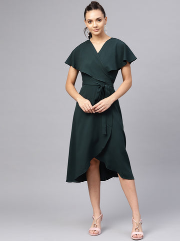 Bottle Green Cape Wrap Midi Dress