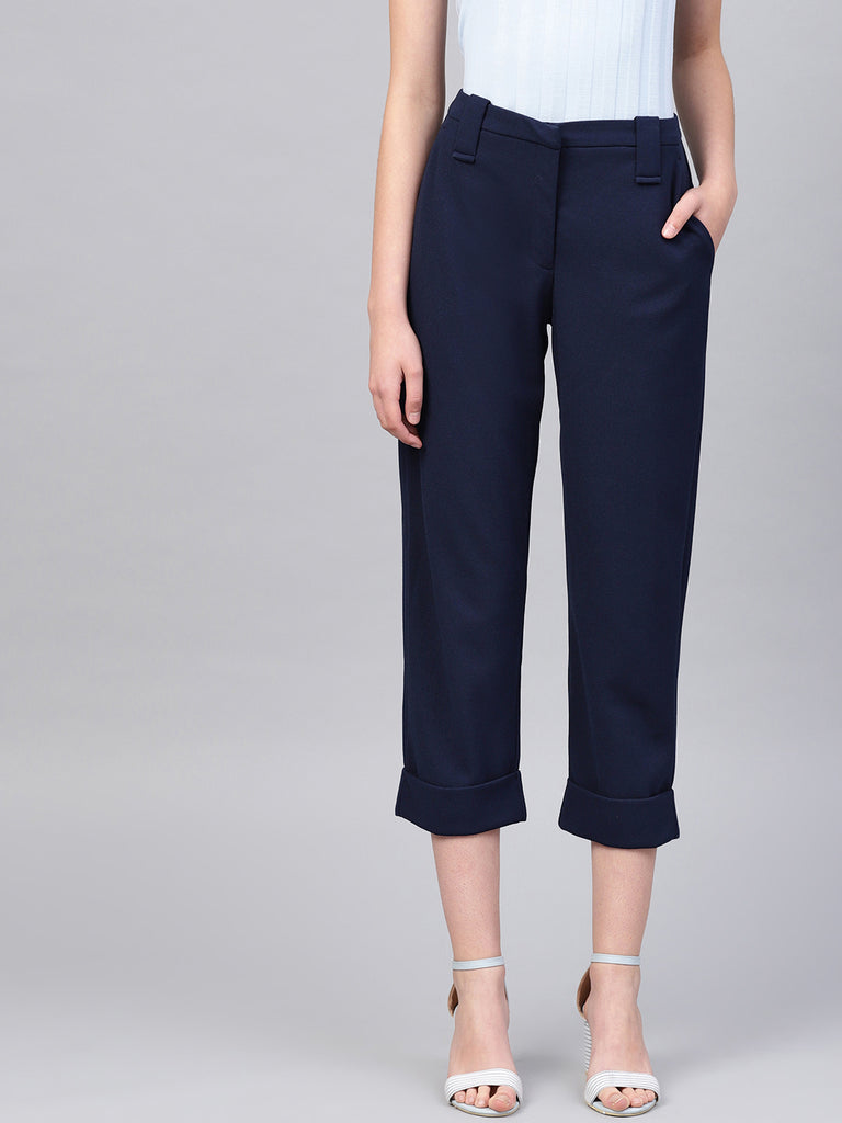 Navy rolled up pants