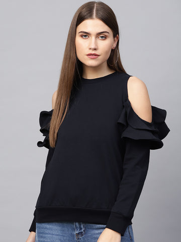 Navy Cold Shoulder Ruffle Sweatshirt