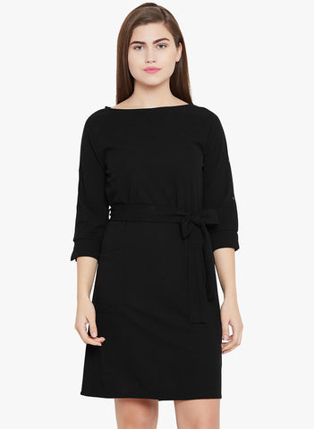Black Shift Dress with eyelet detailing
