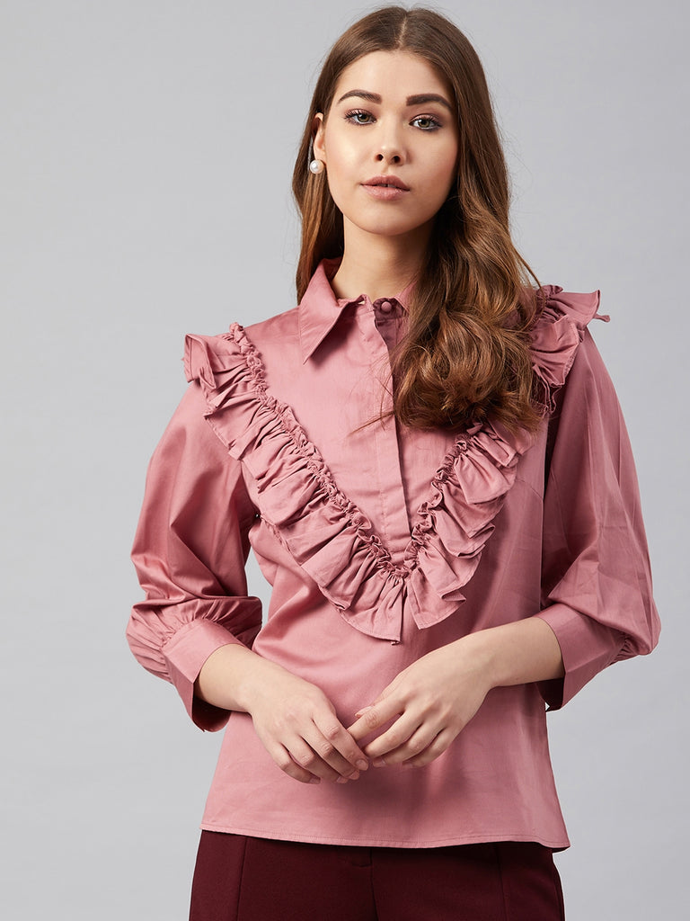 Dusky Pink Cotton Ruffle Detail Shirt