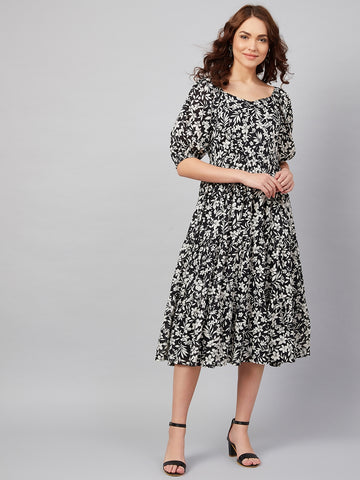 Black and White Floral Tiered Midi Dress