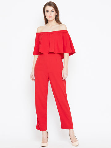 Red Offshuolder Jumpsuit
