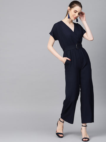 Navy surplice neck jumpsuit