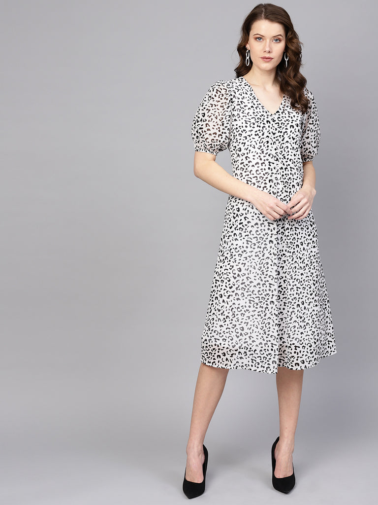 White Animal Print Front Pleat Dress