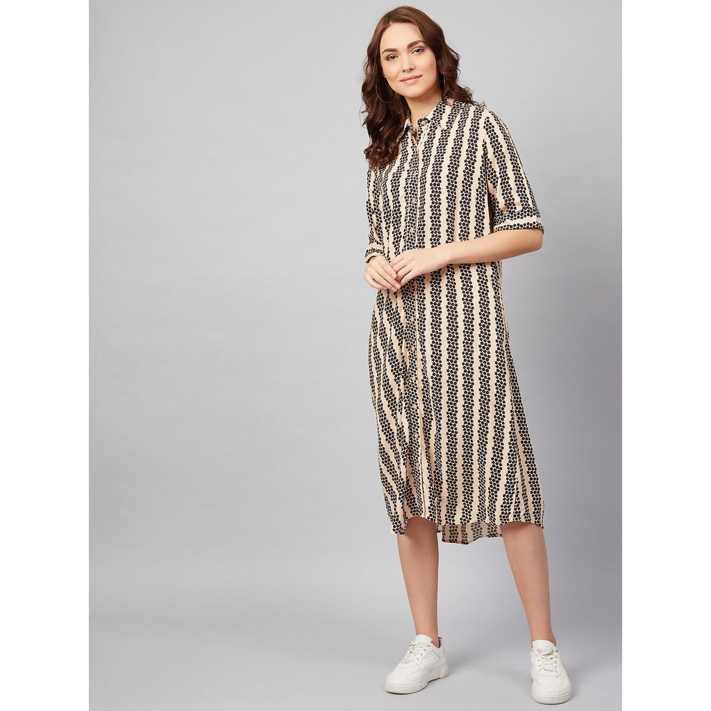 Beige Floral Stripe Oversized Midi Dress