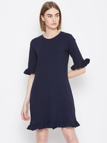 Navy Ruffled Up Mini Dress