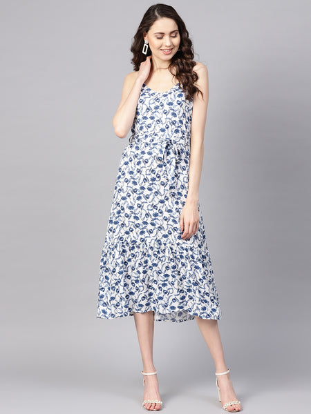 White Floral Strappy Tie-up Midi Dress