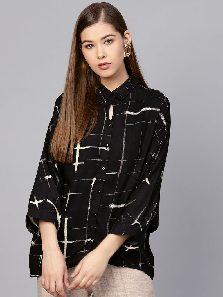 Black check keyhole detail shirt
