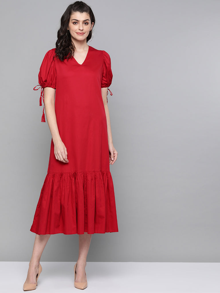 Red Cotton Oversized Tassel Maxi Dress