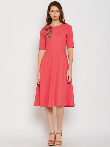 Coral fit and flare embroidered midi