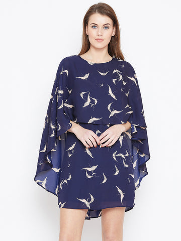 Navy Bird print cape dress