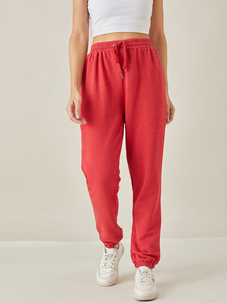 Red Melange Track Pants