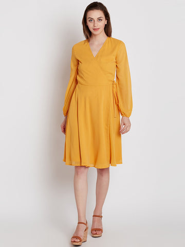 Mustard Mini Wrap Dress
