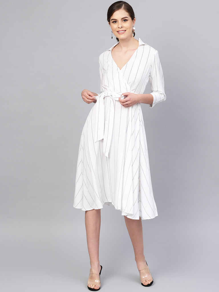 White pinstripes wrap midi dress