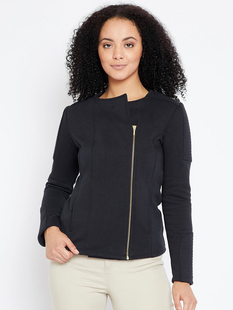 Navy quilted  zip up jacket