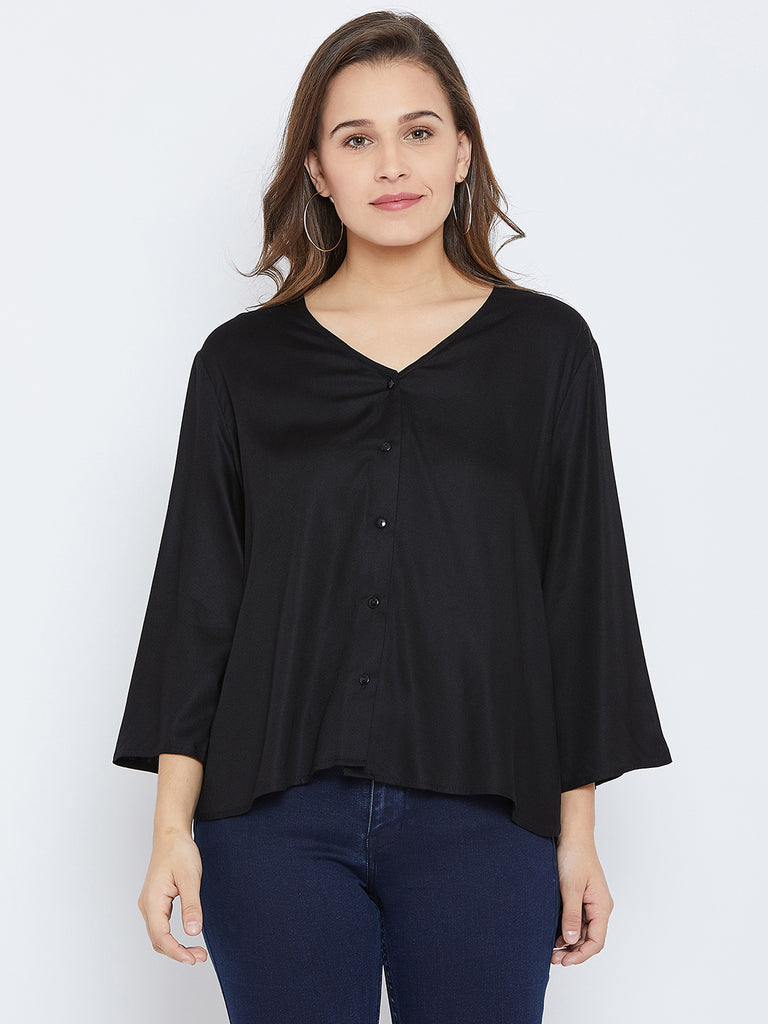 Black hi-low flared sleeve shirt