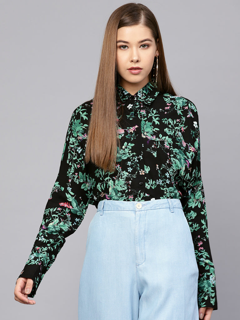 Forest print hi-low shirt