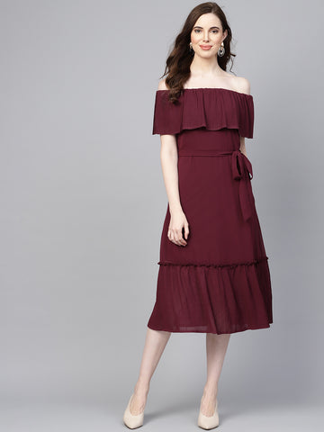 Wine pleated off shoulder midi dress